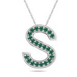 Natural Emerald Initial  S Pendant