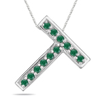 Natural Emerald Initial  T Pendant