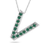 Natural Emerald Initial  V Pendant