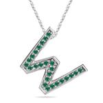 Natural Emerald Initial  W Pendant