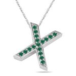 Natural Emerald Initial  X Pendant