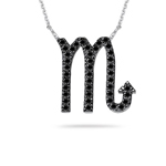 1/2 Ct AA Black Diamond Scorpio Zodiac Pendant in 14K White Gold