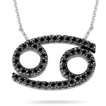 5/8 Ct AA Black Diamond Zodiac Pendant in 14K White Gold