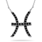 1/3 Ct AA Black Diamond Zodiac Pendant in 14K White Gold
