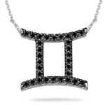 2/5 Ct AA Black Diamond Gemini Zodiac Pendant in 14K White Gold