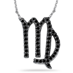 2/3 Ct AA Black Diamond Zodiac Pendant in 14K White Gold