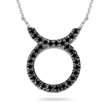 2/5 Ct AA Black Diamond Taurus Zodiac Pendant in 14K White Gold