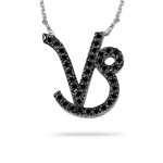 1/2 Ct AA Black Diamond Capricorn Zodiac Pendant in 14K White Gold