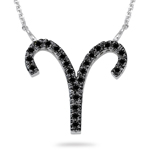 1/3 Ct AA Black Diamond Aries Zodiac Pendant 14K White Gold
