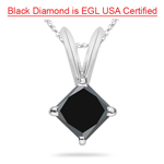 1.00 Ct EGL USA Certified of 4.55-7.20 mm AAA Princess Black Diamond Solitaire Pendant in Platinum