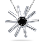 0.30 Cts AA Black Diamond Pendant in Sterling Silver