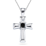 0.52 Cts AA Black Diamond Cross Pendant in Silver