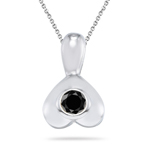 0.30 Cts AA Black Diamond Pendant in Silver - Christmas Sale