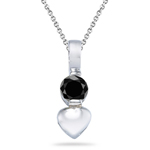 0.30 Cts AA Black Diamond Heart Pendant in Silver