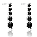 2/7 Ct AA Black Diamond Journey Earrings in 14K White Gold