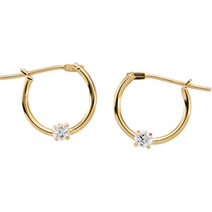 Youth Hoop Click Earrings with CZ in 14K Yellow Gold
