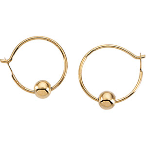 Youth Hoop with Bead Earrings in 14K Yellow Gold