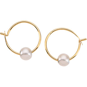Youth Freshwater Cultured Pearl Hoop Earrings in 14K Yellow Gold