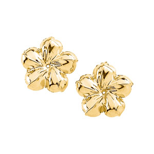 Large Flower Earring Jacket Mounting in 14K Yellow Gold