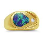 0.05 Cts Diamond & Unique Created Opal Mens Ring in 14K Yellow Gold