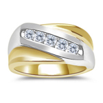 0.45 Ct Diagonal Channel Two Tone Men's