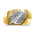 0.12 Ct Men's Heavy Diamond Two Tone Ring