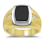 0.14 Ct Men's Onyx And Diamond Two Tone Ring