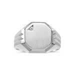 0.005 Ct Diamond Octagon Signet White Gold Men's Ring