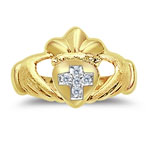 0.04 Ct Diamond Claddagh With Cross Men's Ring