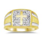 0.02 Ct Diamond Men's Cross Ring In Square Border In 14K Two Tone Gold