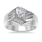 0.26 Cts Men's Angled Diamond Center Ring In 14K White Gold