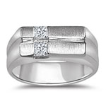 0.40 Cts Princess Diamond Two-Tone Men's Ring in 14K White Gold