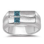 0.38 Cts Blue Diamond Mens Solid Back White Gold Ring