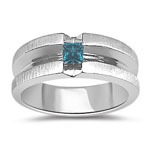 0.32 Cts Mens Princess Blue Diamond White Band
