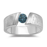 0.67 Cts Blue Diamond Tension Look Mens White Gold Ring