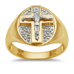 0.01 Cts Men's Crucifix Ring in 14K Two Tone Gold