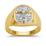 0.05 Cts Diamond Men's Pave Crucifix Ring in 14K Two Tone Gold