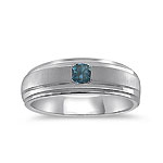 1/4 Cts Blue Diamond Men's Band in 14K White Gold