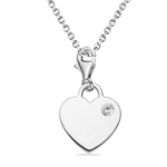 0.10-0.14 Cts White Sapphire Solitaire Multi-Purpose Heart Charm Pendant in Silver