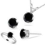 3.00 Cts Black Diamond Jewelry Set in Platinum