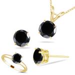 12.00 Cts Black Diamond Jewelry Set
