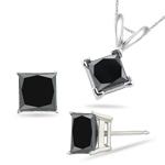 5.00 Cts Black Diamond Jewelry Set in Platinum