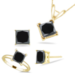 4.33 Cts Black Diamond Jewelry Set in 18K Yellow Gold