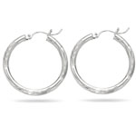 Paisley Small Hoop Earrings in 14K White Gold