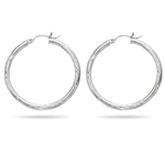 Paisley Large Hoop Earrings in 14K White Gold