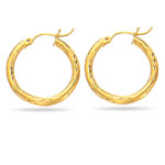 Paisley Large Hoop Earrings in 14K Yellow Gold