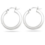 Square Tube Hoop Earrings in 14K White Gold