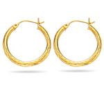 Paisley Hoop Earrings in 14K Yellow Gold