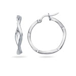 Twisted Square Tube Hoop Earrings in 14K White Gold