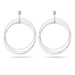 Circle Dangle Earrings in 14K White Gold